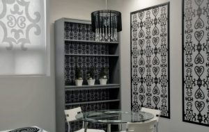Graphic Shades and Expressions Wallpaper in a Designer Kitchen